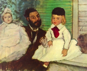 Stampe famose Degas PORTRAIT OF COUNT LEPIC AND HIS DAUGHTERS