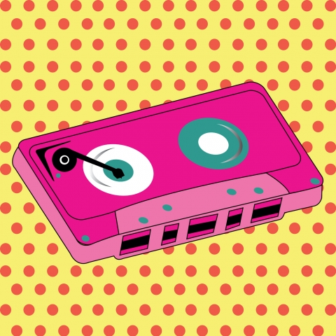 Stampe famose Various Artists  Abstract pink cassette