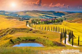Stampe famose Various Artists TRAMONTO SULLE COLLINE TOSCANE